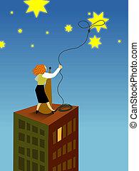 女性実業家, 星, なげ輪で捕らえること, 空