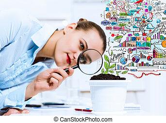 女性実業家, 検査, 芽