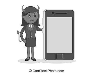 女性実業家, smartphone, 悪魔, 大きい
