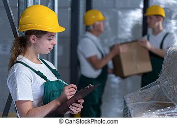 女性, クリップボード, 労働者, 保有物, 製造