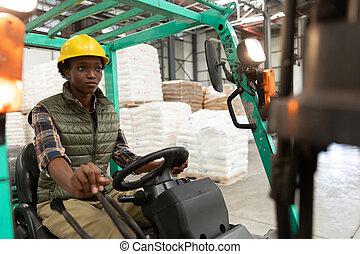 女性, フォークリフト, 労働者, 運転, 倉庫