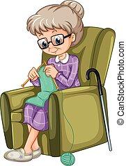 女性, 古い, 椅子, 編むこと