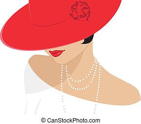 女性, 帽子, 赤