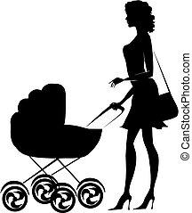 女性, 押す, シルエット, 乳母車