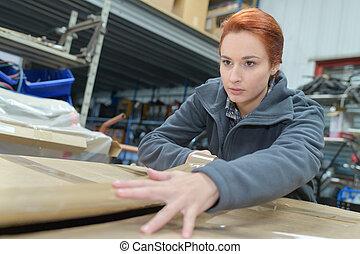 女性, 肖像画, 労働者, 倉庫