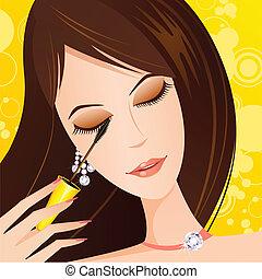 女性, 適用, mascara, 目