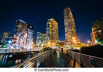 女王, 都市, ガントリー, 島, プラザ, 長い間, 公園, 州, 通り道, york., 見られた, 夜, 新しい