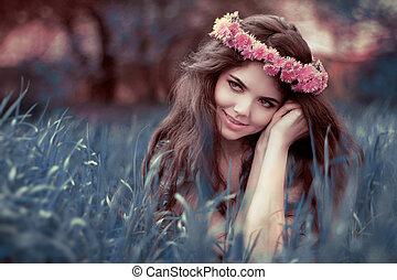 女, おとぎ話, 休む, 上に, 若い, 草, 公園, fairyland, 美しい
