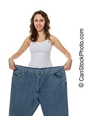 女, かなり, 損失, 重量