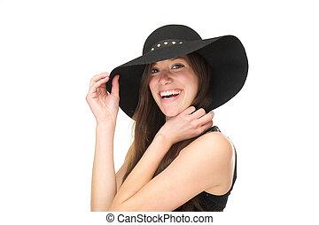 女, の上, 黒, 終わり, 肖像画, 微笑, 帽子