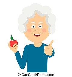 女, アップル, 諦める, 年配, 親指, 保有物, 赤, 幸せ