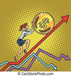 女, アメリカ, 女性実業家, ドル, の上, コインロール
