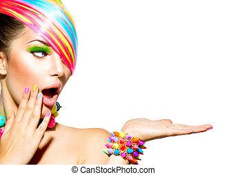 女, カラフルである, 毛, 美しさ, 構造, 爪, 付属品