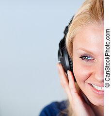 女, クローズアップ, ヘッドホン, 味方, 聞くこと, 音楽