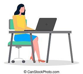 女, コンピュータ, マネージャー, タイプ, モデル, 女性実業家, laptop., ビジネス, 机, 仕事
