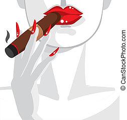 女, セクシー, 煙が出ている葉巻き, 赤