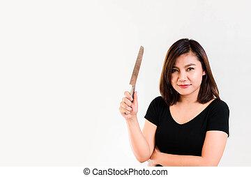 女, ナイフ, 彼女, 手