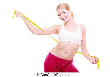女, フィットしなさい, フィットネス, 隔離された, テープ, diet., 測定, 女の子