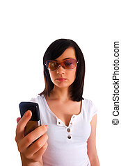 女, モビール, texting, 若い, の上, 電話, 終わり