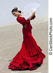 女, 伝統的である, ダンサー, ファン, スペイン語, フラメンコ, 服, 赤