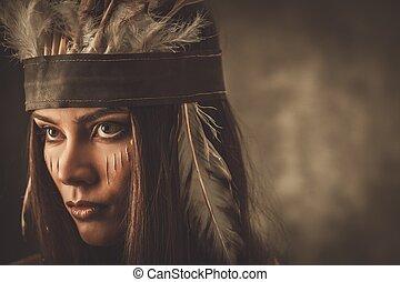 女, 伝統的である, indian, 顔, 頭飾り, ペンキ