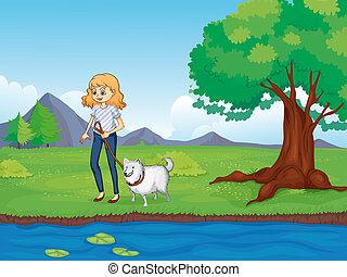 女, 前方へ, 歩くこと, 川, 犬
