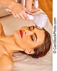女, 受け取ること, 若い, 美顔術, 電気である, massage.