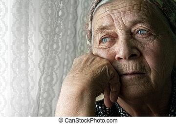 女, 古い, 哀愁を秘めた, 悲しい, 孤独, シニア
