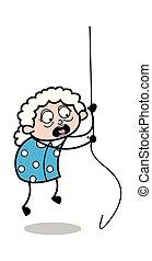 女, 古い, 掛かること, -, イラスト, ロープ, ベクトル, おばあさん, 漫画