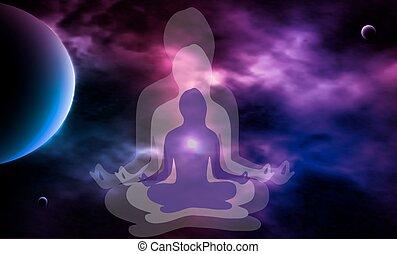 女, 外の, illustration., space., silhouette., ベクトル, meditation.