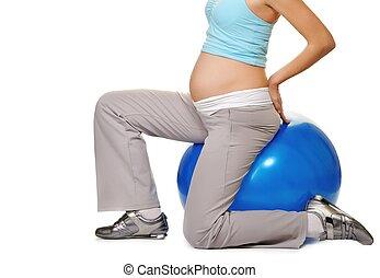 女, 妊娠した, ボール, フィットネス, 作成, 練習