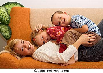 女, 子供, 屋内, 楽しみ, 持つこと, 幸せ