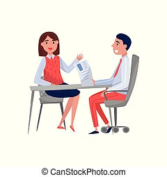 女, 専門家, モデル, 時間, 若い, イラスト, 雇用者, 話し, 仕事, ベクトル, jobseeker, 背景, インタビュー, テーブル, 白, 持つこと