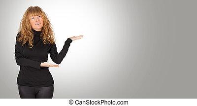 女, 広告, 指すこと, スペース, 魅力的, 成人