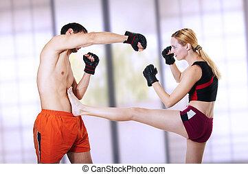 女, 戦闘機, kick., -, 自己防衛, 前部