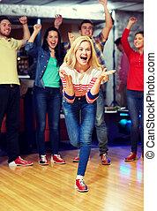 女, 投げる, 若い, クラブ, ボール, ボウリング, 幸せ