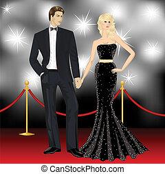 女, 有名, パパラッチ, 恋人, 優雅である, ファッション, 贅沢, 前部, 人, 赤いカーペット