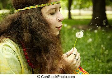 女, 概念, 愛, フォーカス, 若い, 精選する, 夢を見ること, 目, 穴を開けられる, ∥あるいは∥