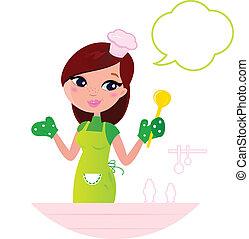女, 泡, 若い, 料理, 台所, スピーチ, 美しい