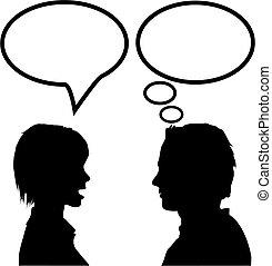 女, &, 発言権, スピーチ, 人, 考えなさい, 話, 聞きなさい