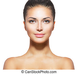 女, 皮膚, 新たに, 若い, 顔, きれいにしなさい, 美しい
