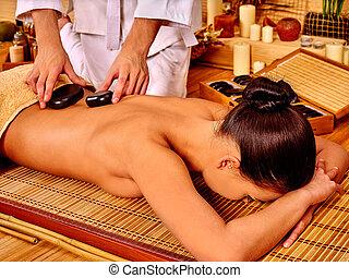 女, 石の治療, 得ること, massage.