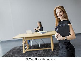 女, 若い, オフィス