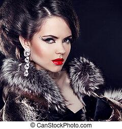女, 贅沢, ファッション, 上に, 宝石類, 黒, 身に着けていること, コート, バックグラウンド。, lady., 優雅である, 美しい, 毛皮