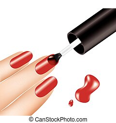 女, 適用, 釘, ベクトル, ポーランド語, 指, 赤
