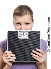 女, 重量, 若い見ること, の後ろ, 恐れている, スケール