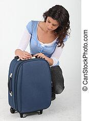 女, 錠を開けること, スーツケース