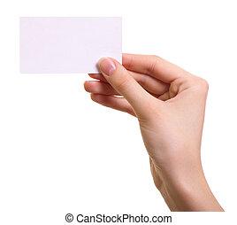 女, 隔離された, 手, ペーパー, 背景, 白, カード