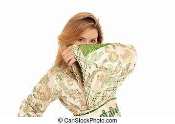 女, 隔離された, 若い, アラビア人, バックグラウンド。, 隠された, 顔, 白
