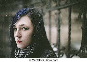 女, 雪, 若い